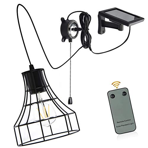 Solar Barn Lights, Low Voltage 3V Solar Powered Hanging Shed Light with Remote Control and Pull Cord Vintage E27 Replaceable Edison Bulb Adjustable Solar Panel Pendant Light Indoor Outdoor