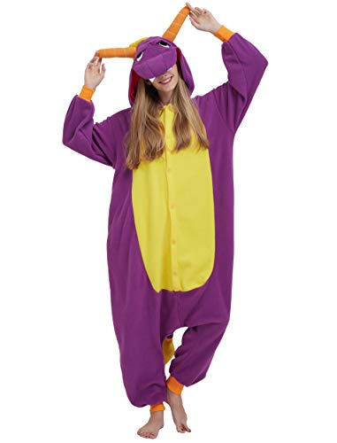 Jumpsuit Onesie Tier Karton Fasching Halloween Kostüm Sleepsuit Cosplay Overall Pyjama Schlafanzug Erwachsene Unisex Lounge, Lila Drache, Erwachsene Größe M - für Höhe 156-167CM