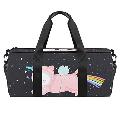 TIZORAX Sports Gym Bag Waterproof Roll Duffel Bag Pink Unicorn Cat Rainbow Travel Gym Tote Dry Wet Separated Luggage for Women and Men