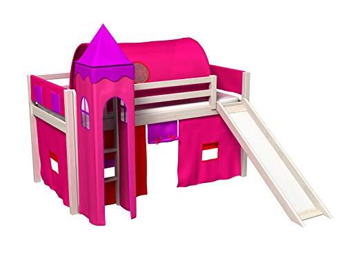 Cama infantil 90x200cm, con tobogan para la parte alta, con torre y tunel, cortina, somier para colchon