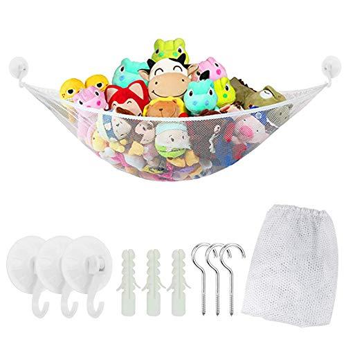 Amaca giocattolo Jumbo, SEELOK Kids Toy Storage Mesh Toy Organizer Storage Net (bianca)