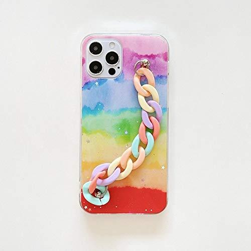 Rainbow Bracelet Phone Cases for Samsung Galaxy S21 S20 Ultra Plus A42 A12 S20 FE A71 A51 A70 Case Chain Back Cover,Qicai Caihong shouL,Galaxy A12