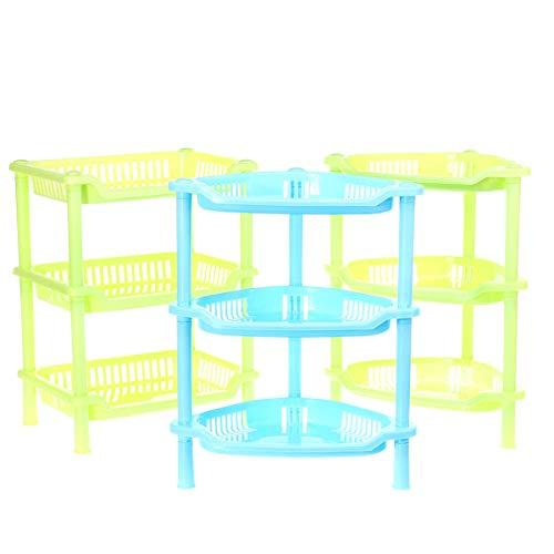 Shiwen Organizador de esquina de plástico de 3 niveles para baño, cocina, escritorio y almacenamiento (color: blanco, tamaño: triángulo)