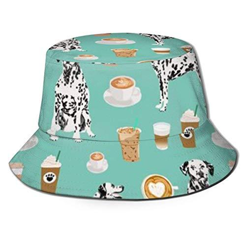 shenguang Dalmatians Cute Mint Coffee El Mejor Sombrero de Cubo con Estampado de Perro dálmata Unisex Sombrero de Sol Fisherman Packable Trave Cap Fashion Outdoor Hat