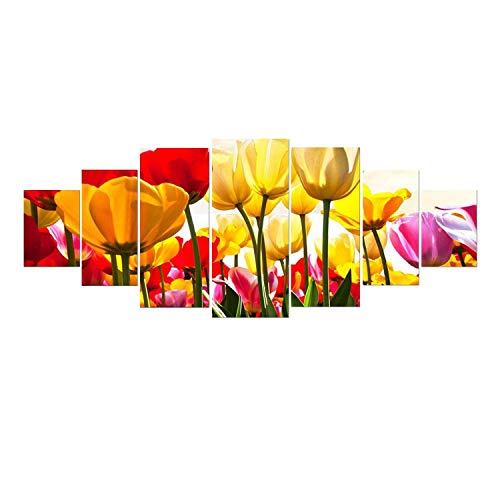 Startonight Grande Quadro su Vetro Acrilico - Tulipani Colorati - Moderno Stampa xxl di 7 Parti 90 x 240 cm