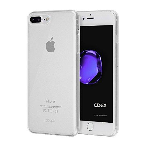 doupi UltraSlim Hülle für iPhone 8 Plus / 7 Plus (5,5 Zoll), Ultra Dünn Clear Farbe TPU Glatte rutschfeste Oberfläche Handyhülle Cover Bumper Soft Case Taschenschutz Design Schutzhülle, transparent