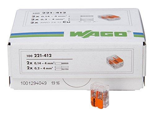 Kopp 33346426 WAGO Steckklemme 2-Fach mit Hebel für Flexible Drähte wiederöffenbar transparent/orange 1,5-2,5 mm² Inhalt 100 Stück