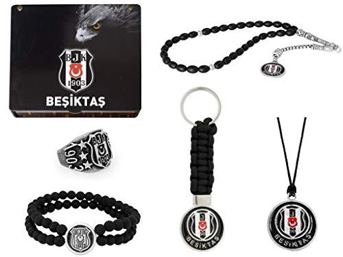 Gök-Turk Handgemachte Schatulle 'Besiktas BJK' Schmuck Set für Herren: Set aus Halskette, Ring, Armband, Gebetskette - Tesbih, Schlüsselanhänger