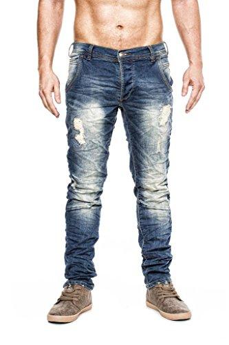 Eigenmarke MEGASTYL Herren Hose Stone-Washed Vintage Jeans Blau Slim-Fit 5-Pocket Jogg-Denim, Größe:W34 / L32
