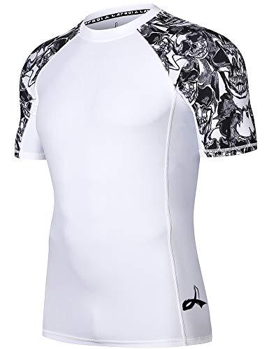 LAFROI Uomo Manica Corta UPF 50+ Strato Di Base Digitale Sublimato Stampa Rash Guard, Uomo, GB-LA_CLY02_Bt1-D-Skull-XL, Teschio, XL