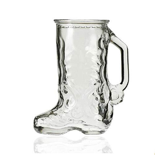 ERJQ Jarra de Cerveza, Forma de Bota de Vidrio de la Novedad Taza de Agua de Cerveza Taza 500ml Bebiendo café Cappuccino Cóctel Tazas de té Vaso de Camping con asa