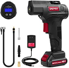 Eastvolt 12V Tire Inflator Air Compressor, Multi-Purpose Electric Power, Max 150PSI, with 4-Unit Measurement Gauge, 3 Nozzles, Fast Charger and1.5 Ah Rechargable Battery