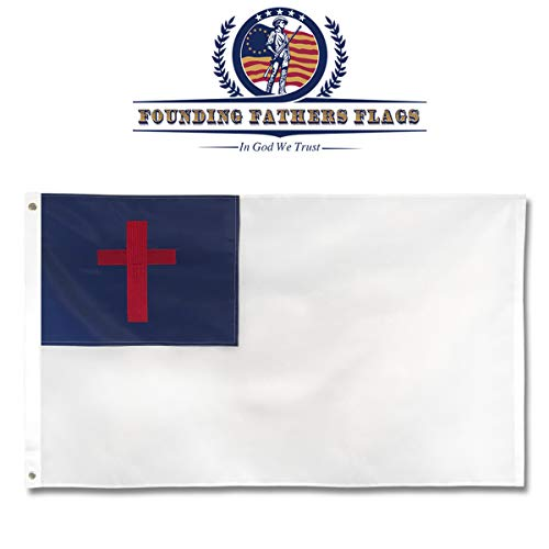 Founding Fathers Flags Christian Flag - Faith Edition 3'x5' Oxford Poly Embroidered - Perfect for Home Decor, Church Decor, etc!