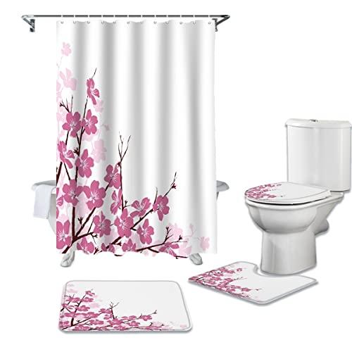 YPDWYJL 4-teiliges Duschvorhang-Set, Pfirsichblüten-Blütenblatt-Duschvorhang-Set, Rutschfester Teppich, Toilettenabdeckung & rutschfeste Badmatte, wasserdichter Badvorhang