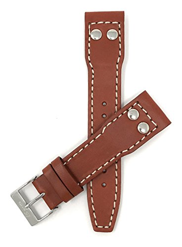Leder Uhrenarmband 20mm für IWC Pilot, Dunkel Hellbraun, Nieten, Schließe Edelstahl, auch verfügbar in schwarz und Hellbraun