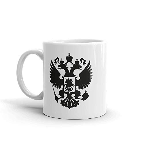 blitzversand Kaffee Tee Tasse Becher Russland Russia Wodka Heimat Adler Hoheitsabzeichen schwarz Cup Sprüche Geschenk-Tasse 330ml aus Keramik MT5