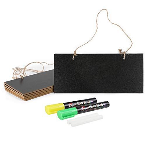 Mini Hanging Chalkboard Signs with Liquid Chalk Markers, Sticks (10 Pieces)