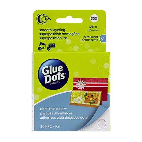 Glue Dots Doppelseitige Klebepunkte, Rolle mit 300 Ultra Dünnen Punkten, Permanent, Rund, 10 mm, Vielseitige Verwendung, DIY Basteln, Karten Gestalten und Scrapbooking