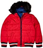Tommy Hilfiger Women's Adaptive Puffer Jacket with Faux Fur Hood and Magnetic Zipper, Crimson- Print, M