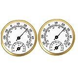 Obelunrp Higrómetro Termómetro Higrómetro Puntero Temperatura Temperatura Humedad Medidor para Coche Greenhouse 2pcs Gold
