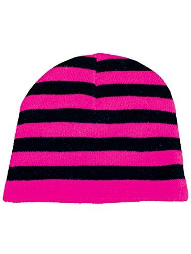 Bonnet à rayures rose fluo
