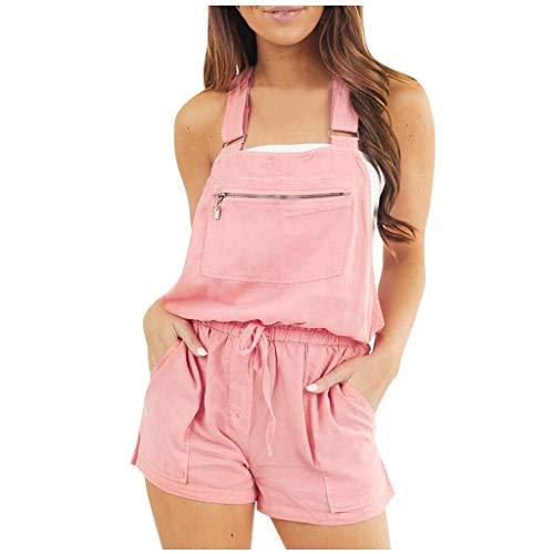 Combishort Fille Ete,Bluestercool Femmes ÉLastique Taille Salopette Coton Linge Poches Barboteuses Combinaison Shorts Pantalon Clubwear