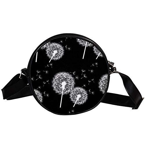 Bennigiry Handtasche mit Pusteblumen-Motiv, rund, Weiß