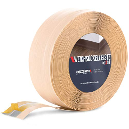 HOLZBRINK Weichsockelleiste selbstklebend KIEFER Knickleiste, 50x20mm, 5 Meter