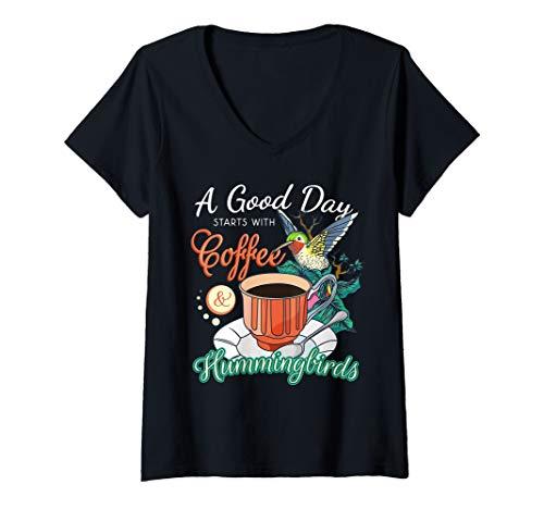Womens Hummingbirds Coffee Lover Nectar Feeder Animal Birds Gift V-Neck T-Shirt