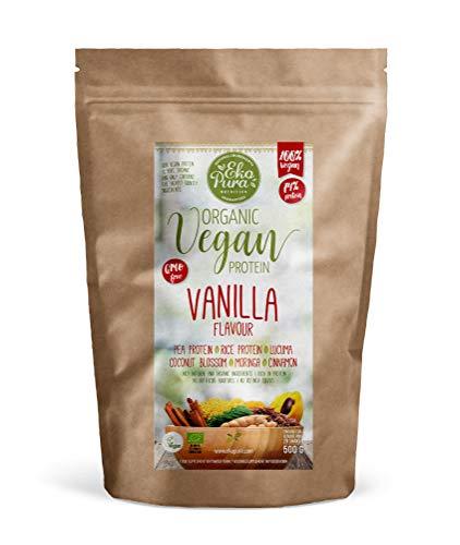 Organic Vegan Protein Vanilla - Biologisch en Plantaardig Eiwitpoeder - 74% Eiwit, 500gram, zonder Kunstmatige Toevoegingen