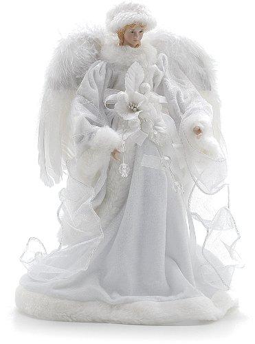 Festive Productions Ange en velours avec ailes en plumes Blanc 30 cm