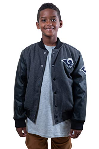 NFL Ultra Game Los Angeles Rams Classic University Varsity Jacket, Small, Charcoal Heather