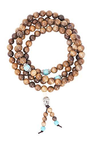 Mandala Crafts Natural Wood 108 Mala Prayer Beads Necklace, Bracelet from for Buddhists, Meditation, Yoga (Nanmu Buddha Head)