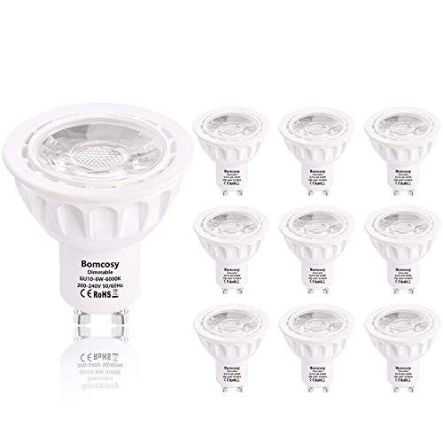 Bombillas LED, GU10 Regulable 6W Equivalente 50W Halógena, 540LM 6000k Blanco Luz de Día, 35 Degree ángulo, AC 220-240V, Pack de 10