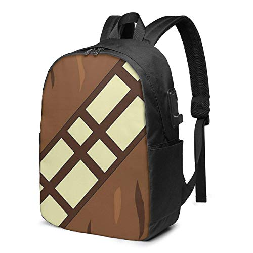 Wookie Belt USB School Backpack Large Capacity Canvas Satchel Casual Travel Daypack for Adult Teen Women Men 17in