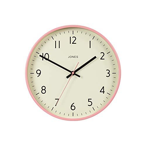 JONES CLOCKS, Estudio, Reloj de Pared Diseño de Colores Modernos para el hogar Cocina Comedor Sala de Estar Oficina Fácil de Leer Números 30cm (Rosa)