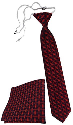 TigerTie Security Sicherheits Krawatte Einstecktuch in rot weinrot schwarz - Motiv Flechtmuster - Sicherheitskrawatte fest vorgebunden mit Gummizug