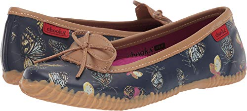 Chooka womens Butterfly Skimmer Ballet Flat, Navy, 6 US