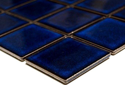 Mosaik-Netzwerk Mosaikfliese Quadrat uni kobaltblau glänzend Keramikfliese, Mosaikstein Format: 58x58 mm, Bogengröße: 304x304 mm, 1 Bogen/Matte