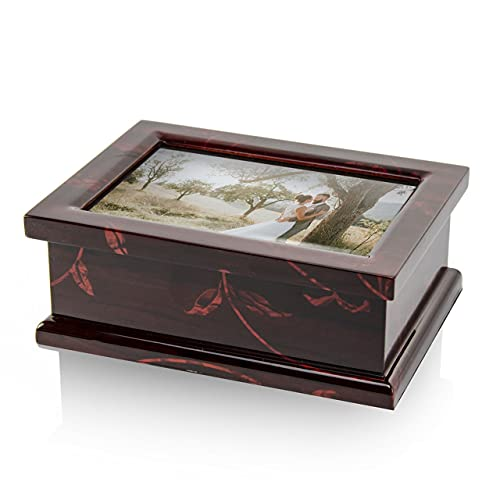 Modern 4 X 6 Photo Frame Musical Jewelry Box with Floral Motifs - Many Songs to Choose - I Could Have Danced All Night