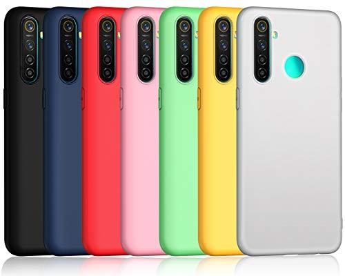 ivoler 7 Stücke Hülle für Oppo Realme 5 Pro, Ultra Dünn Tasche Schutzhülle Weiche TPU Silikon Gel Handyhülle Hülle Cover (Schwarz, Blau, Grün, Rosa, Rot, Gelb, Weiß)