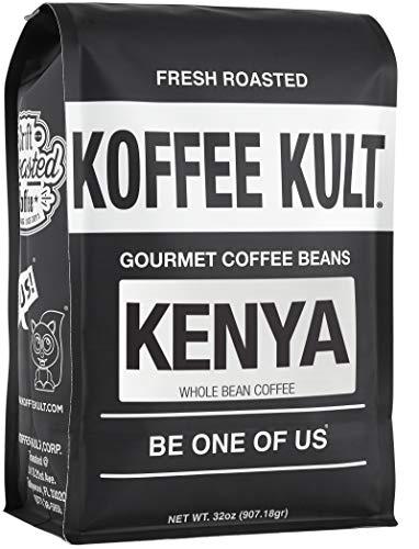 Koffee Kult Kenya Medium Roast Whole Bean Coffee, Premium 100% Single Origin Arabica 87+ AA Plus High Altitude Grown Speciality Grade (32oz)