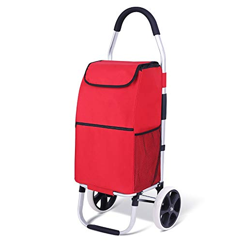 XIAOHE Folding Portable Wagen Treppensteig-Fahrzeug Aluminiumstab kleine Haushaltshandkarren (Color : Red)
