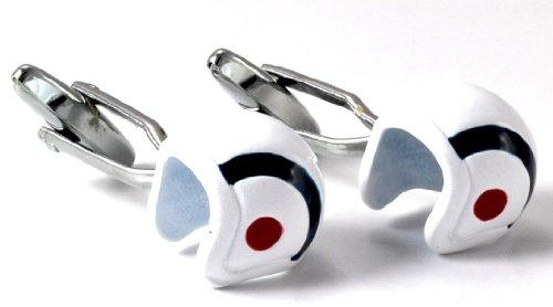 Gemelolandia Boutons de manchette en forme de casque de moto mod-Bleu et Blanc   Pour hommes et garçons   Cadeaux pour mariages, communions, baptêmes
