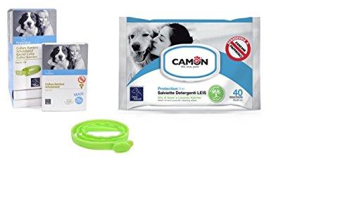 Camon Lingettes à l'huile de neem et lavande & collier barrière à l'huile de neem 75 pour chiens