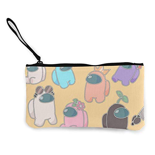 Game Among Us Coin Purse Canvas Change Cash Bag with Zipper Cute Jewelry Pouch Small Makeup Bags Key Holder Headphones Multifunctional Bags for Women Or Girls