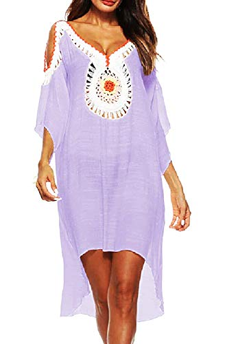 Inception Pro Infinite Copricostume Femmina - Donna Mare - Femminile - Ragazza - Pareo - Spiaggia - da Bagno - Tunica - Piscina - Abito - Costume - Decorato - Indiano - Lilla - Idea Regalo Originale