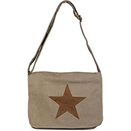 styleBREAKER bandoulière en Toile Sac, étoile en Cuir synthétique Cousue, Sac, Unisexe 02012068, Couleur:Beige