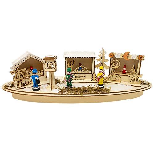 Krippenhandel Weihnachtsmarkt-Dekoration Holz Schwibbogen Weihnachtsszene mit LED-Beleuchtung Weihnachten Weihnachtsmarkt Dekoration Fensterdeko Tischdeko Feiertage