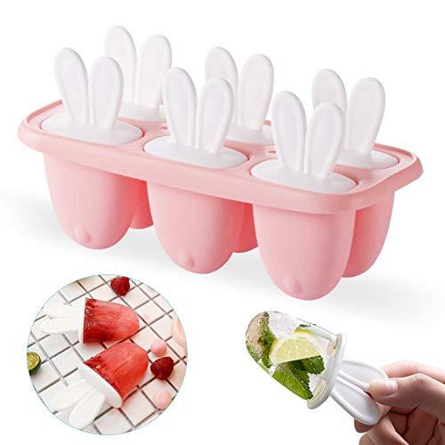Sunshine smile Eisform Kinder, Popsicle Formen, Eisform Set, Eisformen Bpa Frei, Eisformen EIS Am Stiel, Eisformen Popsicle Formen, Stieleisformer (Rosa)